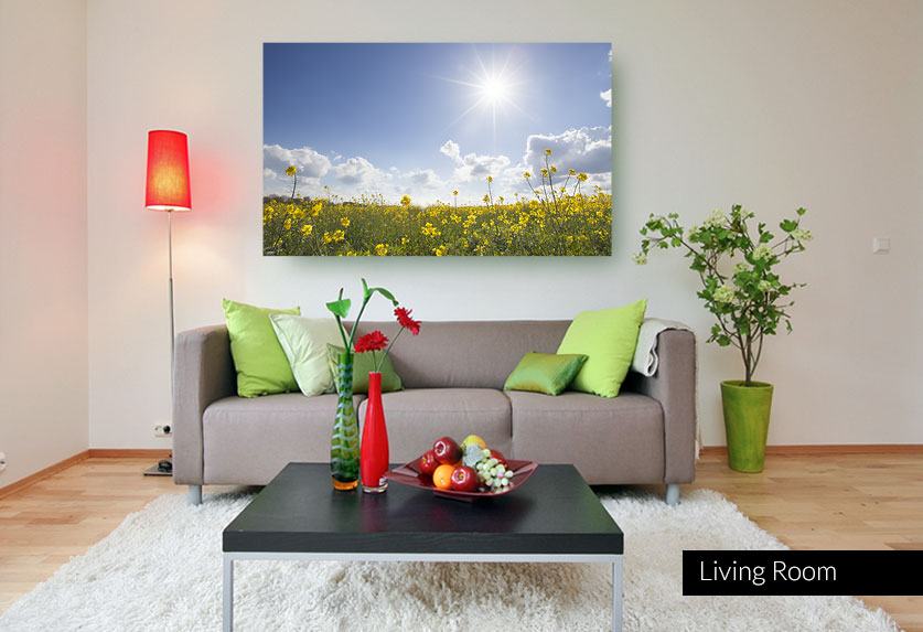 Stretched Canvas Print - Field of yellow flowers with sunshine and blue sky