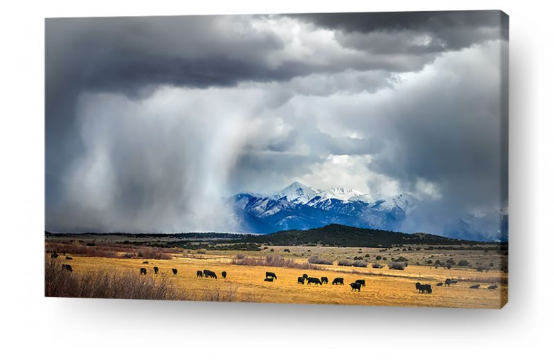 colorado wall art canvas print - mountains with majestic clouds