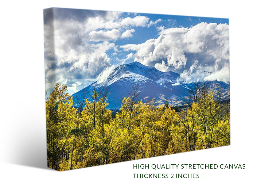 Stretched canvas prints with photo art - Mountains of Colorado with aspen in fall color