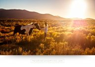 horse canvas print of a girl with horse during sunset, in mountains