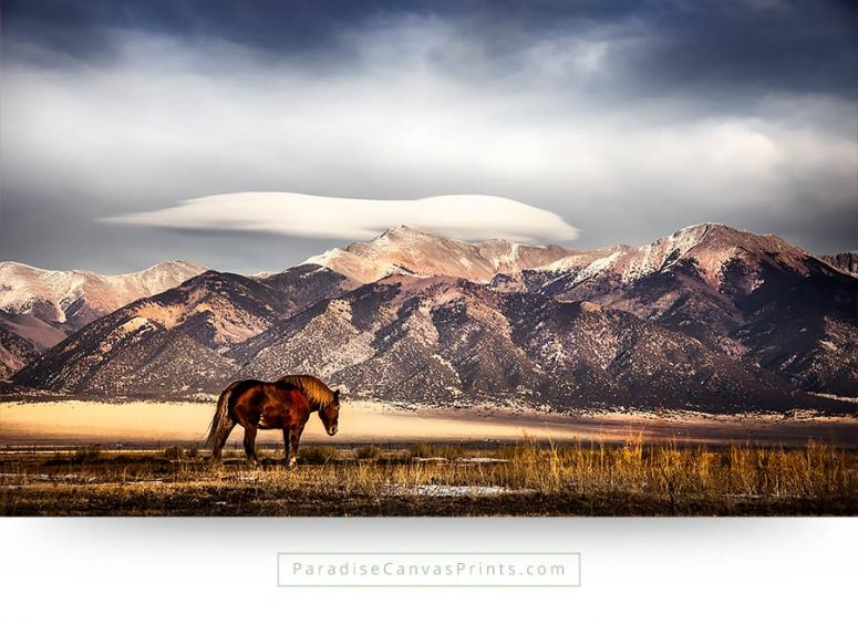 horse wall art mountain clouds