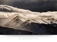 colorado wall art mountain tops clouds