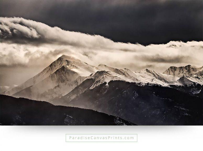 colorado wall art mountain tops clouds