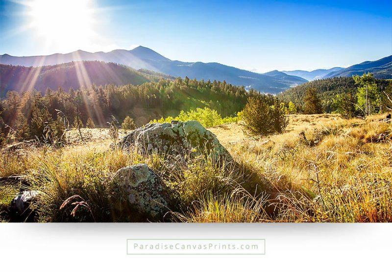 colorado mountains sunshine landscape wall art canvas print