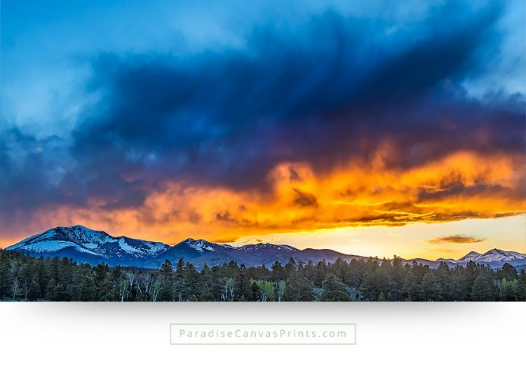 colorado wall art fire sky sunset mountains canvas print
