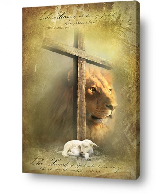 christian wall art decor canvas behold lamb lion judah