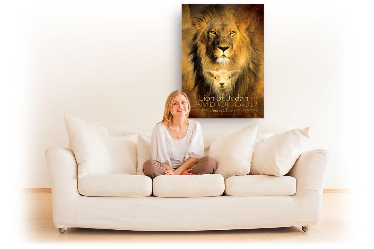 christian wall art lion judah canvas painting