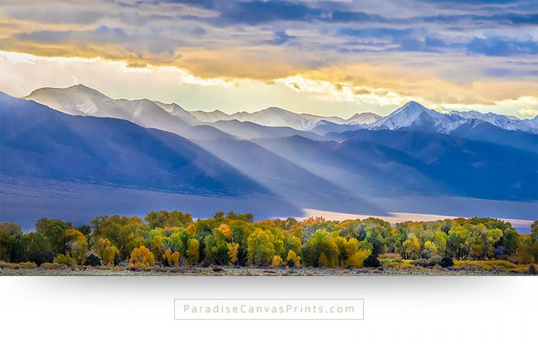 sunrise sun rays mountains-trees fall colors colorado wall-art landscape canvas prints