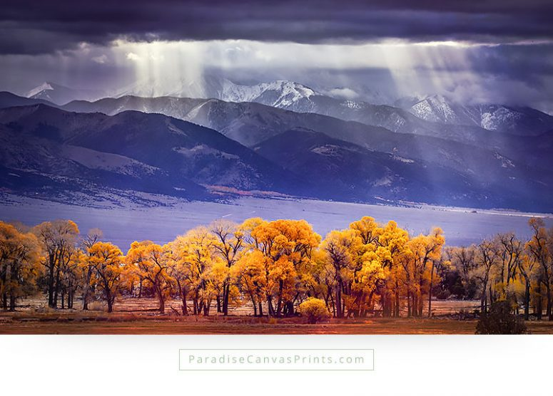 Mountain Canvas Wall Art - Beautiful Sun Rays Through Clouds With Trees In Fall Color