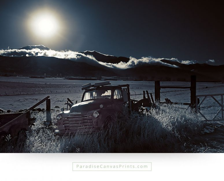 Old Car Wall Art - Vintage American Truck In Moonlight