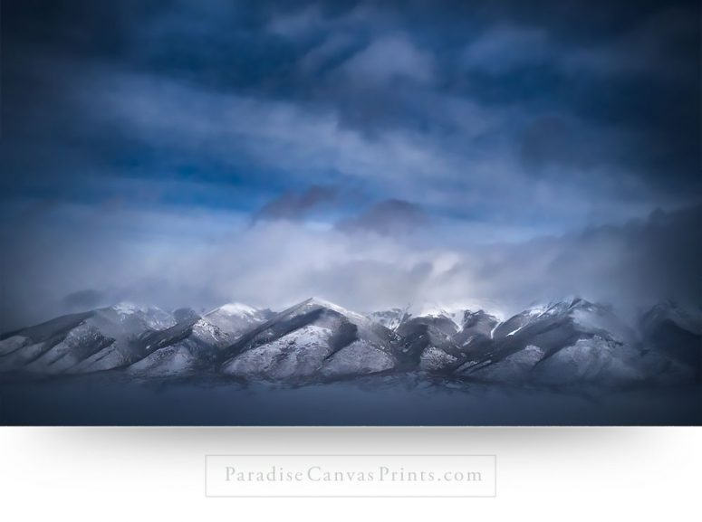 mountain art prints: storm snow valley colorado clouds