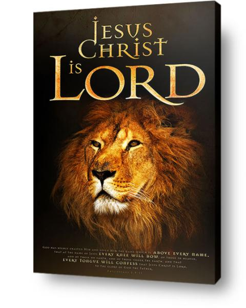 Christian wall art, decor, canvas - Image of Lion with text Jesus Christ is Lord
