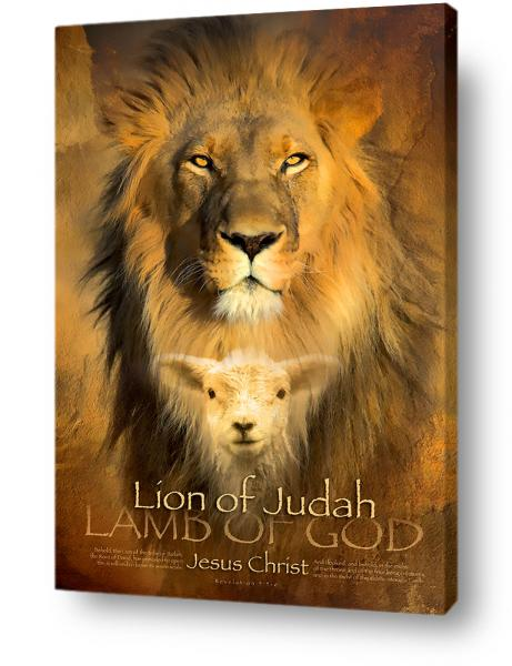 Christian wall decor, art, canvas print of the Lion of Judah and Lamb of God