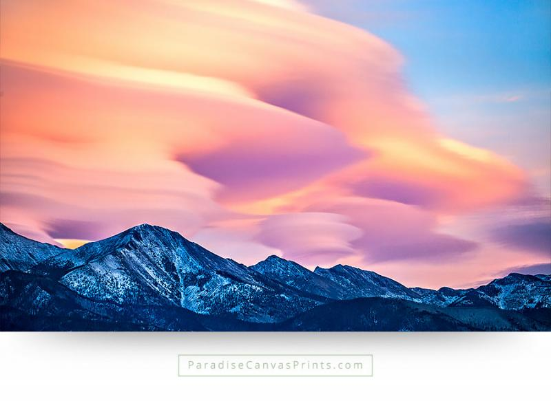 colorado wall art mountains cloudscapes sunset canvas print
