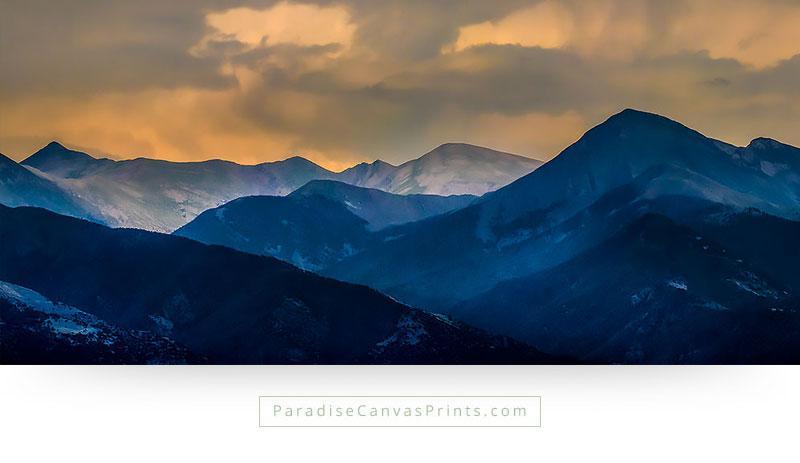Mountain Range Wall Art - Beautiful Sunset Over Mountainpeaks